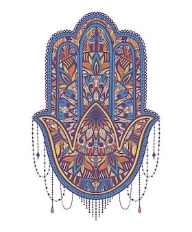 Religia talizmanu hamsa azjatycka. symbol ochrony i talizman przeciwko złemu oku.