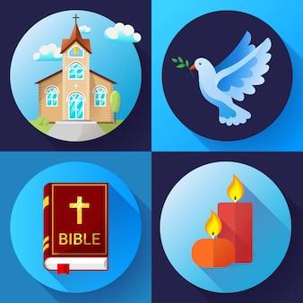 Religia ustalony kolor płaska konstrukcja ilustracja. niebieski gołąb, stary kościół, świece i książka biblijna