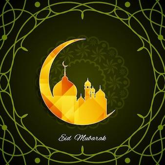 Religijne zielone eid mubarak tle