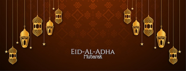 Religijny dekoracyjny projekt banera eid al adha mubarak