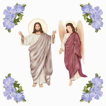 Religijny jezus chrystus i anioł z wiosennymi niebieskimi kwiatami