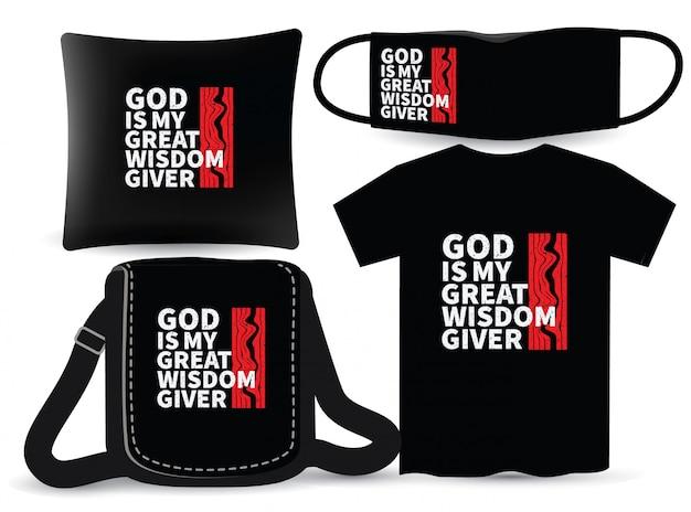 Religijny motywacyjny projekt koszulki i merchandisingu