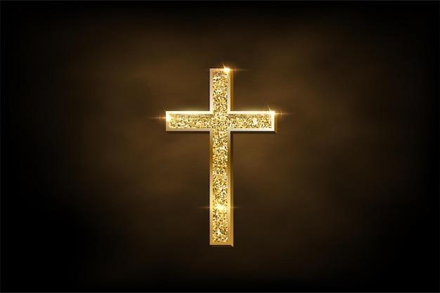 Religijny symbol krucyfiksu na brązowym tle mgły złoty błyszczący krzyż prawosławny