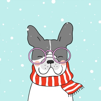 Remis cute pies z szalikiem piękno w śniegu na sezon zimowy