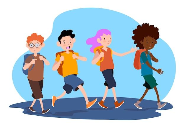 Remis ilustracyjny dla dzieci z powrotem do szkoły