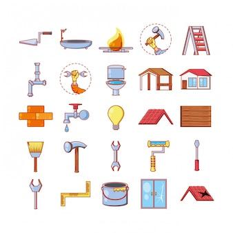 Remont domu za pomocą narzędzi zestaw ikon