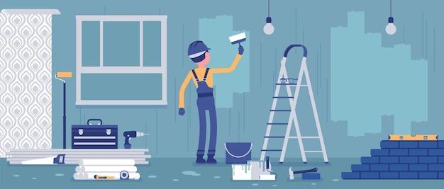 Remont mieszkań, robotnik malujący ściany. man świadczy profesjonalne usługi dla domu wiejskiego, biura, przywrócenia domu do dobrego stanu, dekoracji wnętrz. ilustracja wektorowa, postacie bez twarzy