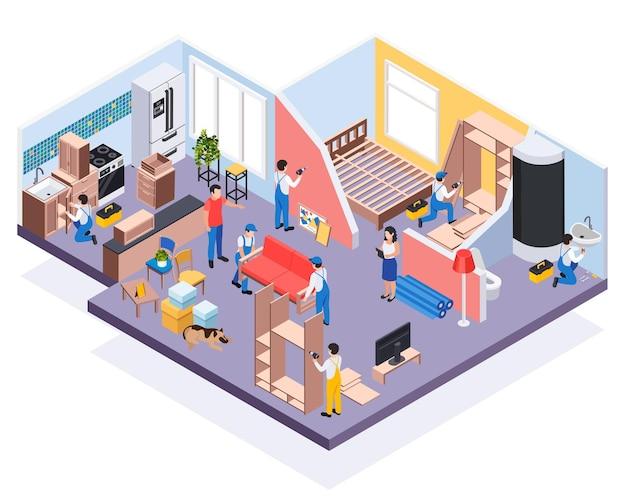 Remont prac naprawczych skład izometryczny z widokiem mieszkania i pracowników montujących meble i armaturę łazienkową ilustracja