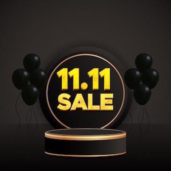 Renderowania 3d 11.11 minimalna sprzedaż na podium z balonami