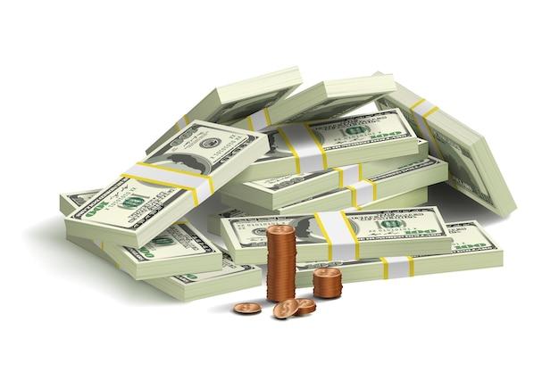 Renderowania 3d kupie 100 dolarów banknotów wads i monet na białym tle