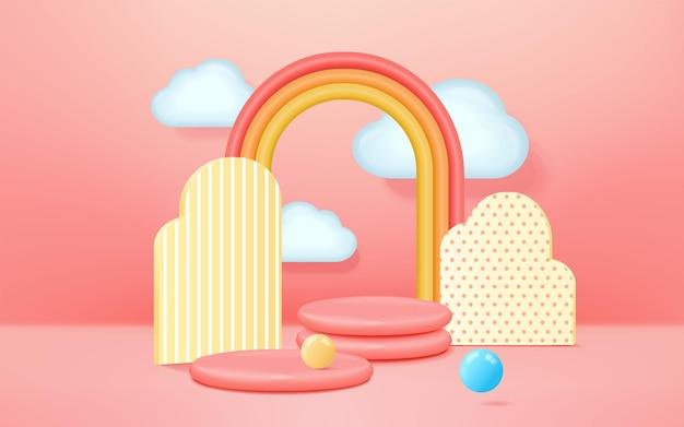 Renderowanie 3d stylu dziecięcego na podium z kolorowym pastelowym tłem, chmurami i pogodą z miejscem dla dzieci lub produktu dla dzieci