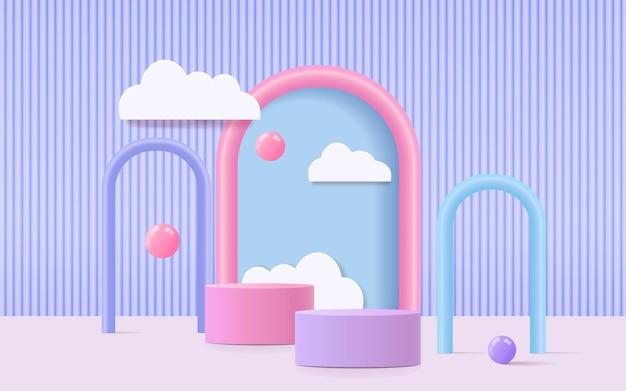 Renderowanie 3d stylu dziecięcego na podium z kolorowym pastelowym tłem, chmurami i pogodą z pustą przestrzenią dla dzieci lub produktu dla dzieci