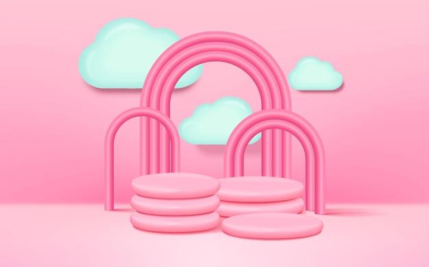 Renderowanie 3d stylu dziecięcego na podium z różowym tłem, chmurami i pustą przestrzenią dla dzieci lub produktu dla dzieci