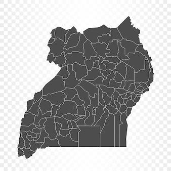 Renderowanie mapy ugandy na białym tle