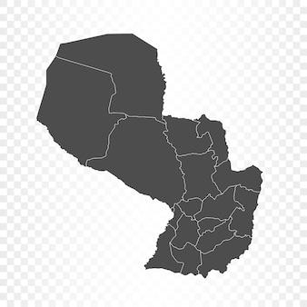 Renderowanie na białym tle mapy paragwaju