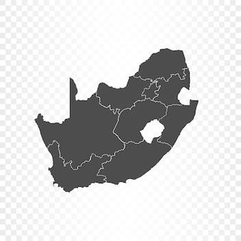 Renderowanie na białym tle mapy republiki południowej afryki