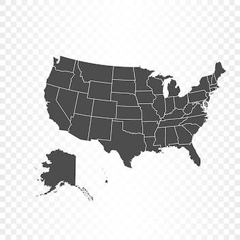 Renderowanie na białym tle mapy stanów zjednoczonych ameryki