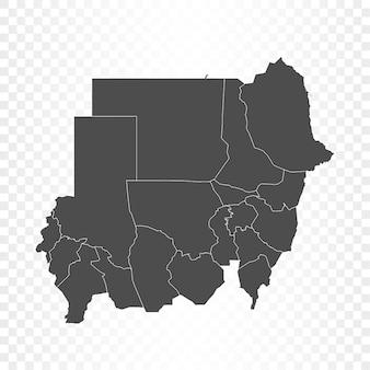 Renderowanie na białym tle mapy sudanu