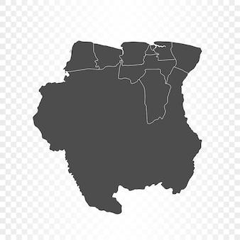 Renderowanie na białym tle mapy surinamu