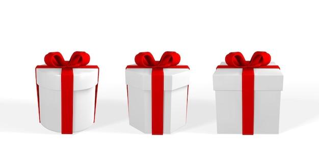 Renderuj 3d i rysuj przez realistyczne pudełko upominkowe z kokardą. papierowe pudełko z cieniem na białym tle. ilustracja wektorowa.