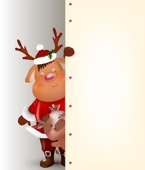 Renifer boże narodzenie. ładny i zabawny charakter jelenia. kartka świąteczna.