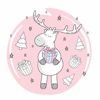 Renifer doodle wesołych świątecznych prezentów