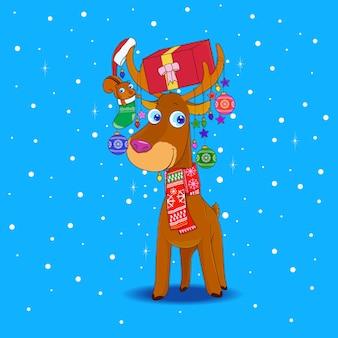 Renifer i wiewiórka ze świątecznymi akcesoriami