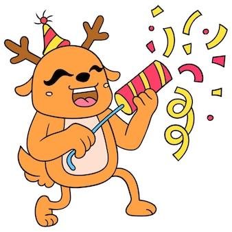 Renifer świętuje przyjęcie urodzinowe niespodziankę, ilustracja wektorowa sztuki. doodle ikona obrazu kawaii.