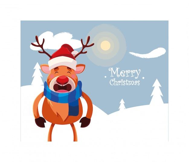 Renifer w zimowy krajobraz z napisem wesołych świąt