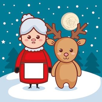 Renifer z babcia ikona znaki świąteczne