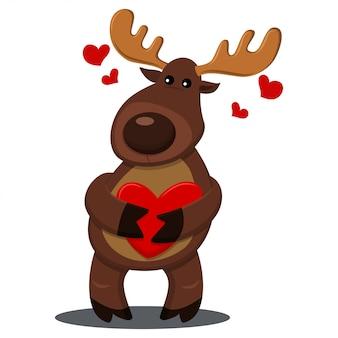 Renifer z czerwonym sercem. wektorowa kreskówki ilustracja z zwierzęciem dla wakacji odizolowywających
