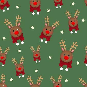 Renifer z czerwonym szalikiem na zielonym tle