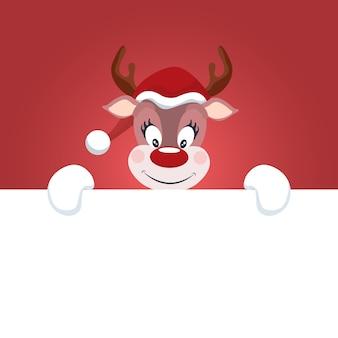 Reniferowa kartka bożonarodzeniowa z białym tłem pisać