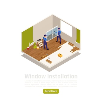 Renowacja pokoju w mieszkaniu domu przebudowa izometryczny widok wnętrza