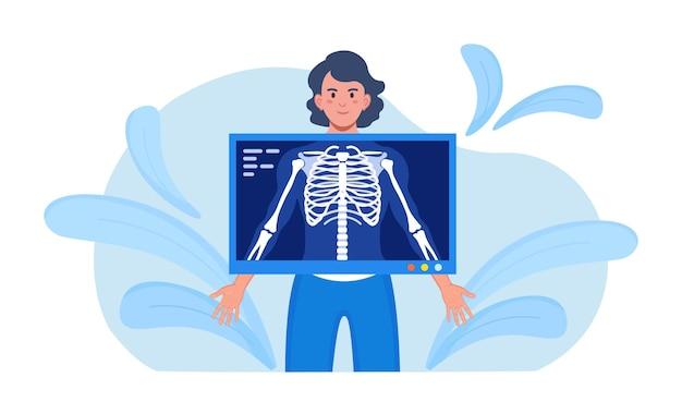 Rentgenowska diagnostyka medyczna kości, kontrola szkieletu. rentgen kości klatki piersiowej. radiologiczny skaner ciała, sprzęt skanujący ludzkie ciało pod kątem choroby pacjenta. egzamin fluorograficzny. diagnostyka urazów i urazów