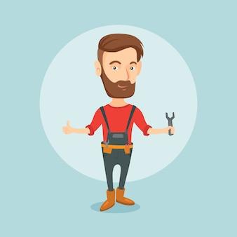 Repairman gospodarstwa klucza ilustracji wektorowych.