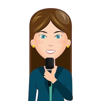 Reporter na żywo wiadomości ikona na białym tle wektor ilustracja projektu