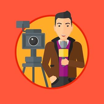 Reporter telewizyjny z mikrofonem i aparatem.