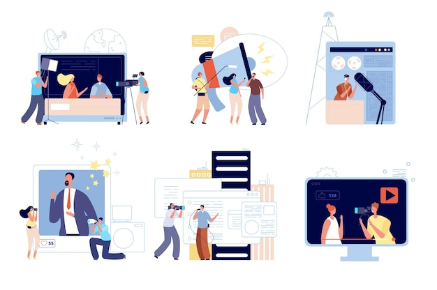 Reporterzy mediów informacyjnych. komunikacja z ludźmi, aktualizacja bloga internetowego lub kreatywny wywiad mobilny. radio cyfrowe, ilustracja wektorowa dziennikarza telewizyjnego. nadawanie prasy, reportaży i dziennikarstwa