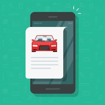 Repotacja informacji tekstowych o samochodzie i dokument z instrukcjami na stronie internetowej w telefonie komórkowym lub smartfonie opis historii samochodu