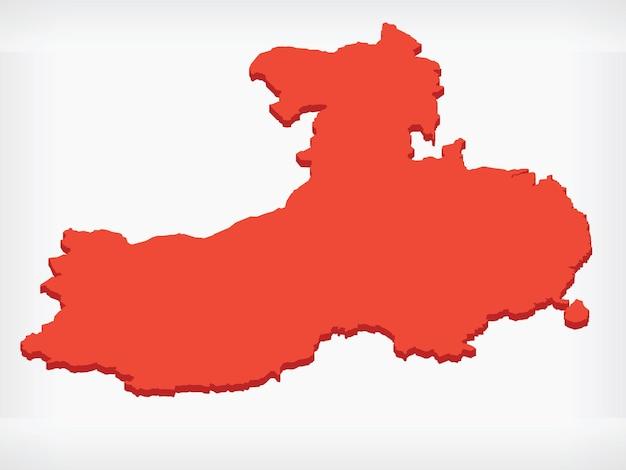 Republika chiny izometryczna mapa kształt 3d
