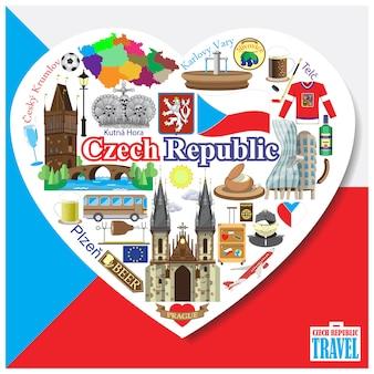 Republika czeska love.icons i symbole ustawione w formie serca