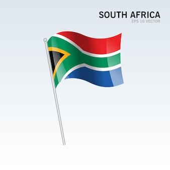 Republika południowej afryki macha flagą odizolowaną na szaro