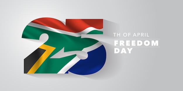Republika południowej afryki szczęśliwy wolności narodowej na dzień 25 kwietnia tło z flagą