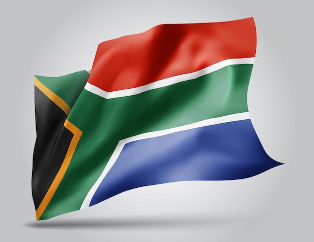Republika południowej afryki, wektor flaga z falami i zakrętami macha na wietrze na białym tle.