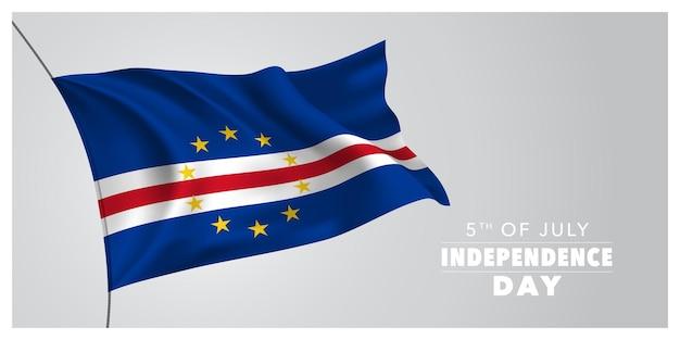 Republika zielonego przylądka szczęśliwy dzień niepodległości kartkę z życzeniami transparent wektor poziomy ilustracja
