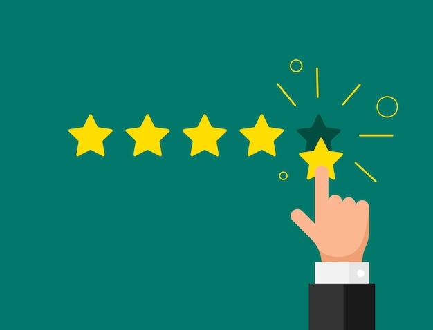 Reputacja opinii online jakość opinii klienta koncepcja płaski styl. biznesmen palcem wskazującym pięć złotych gwiazdek na zielonym tle. ilustracja wektorowa eps