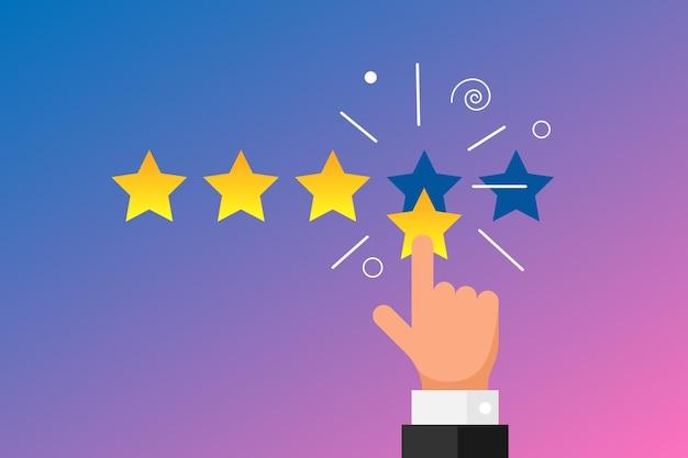 Reputacja opinii online najwyższej jakości koncepcja recenzji klienta w stylu płaski. biznesmen palec wskazujący cztery złote gwiazdki na gradientowym tle. ilustracja wektorowa rangi