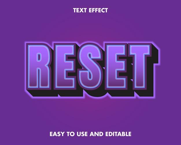 Resetuj efekt tekstowy. edytowalny efekt czcionki.