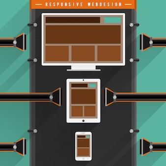 Responsywna sieć dla urządzenia muti w pliku na wielu ekranach